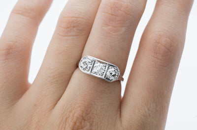 1CTW ART DECO THREE STONE DIAMOND RING - SinCityFinds Jewelry