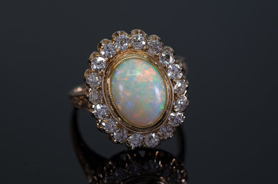 Antique Opal diamond ring, sincityfinds