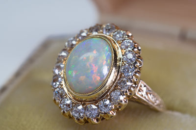 2.76CTW OPAL AND OLD MINE CUT DIAMOND COCKTAIL RING - SinCityFinds Jewelry