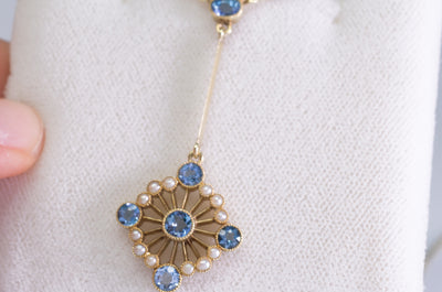 1CT AQUAMARINE AND SEED PEARL VICTORIAN / NOUVEAU 15K GOLD NECKLACE