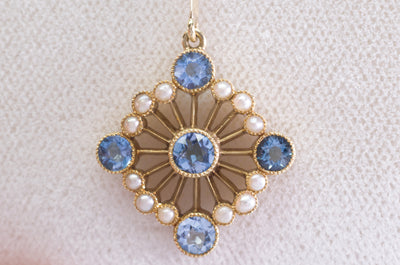 1CT AQUAMARINE AND SEED PEARL VICTORIAN / NOUVEAU 15K GOLD NECKLACE - SinCityFinds Jewelry