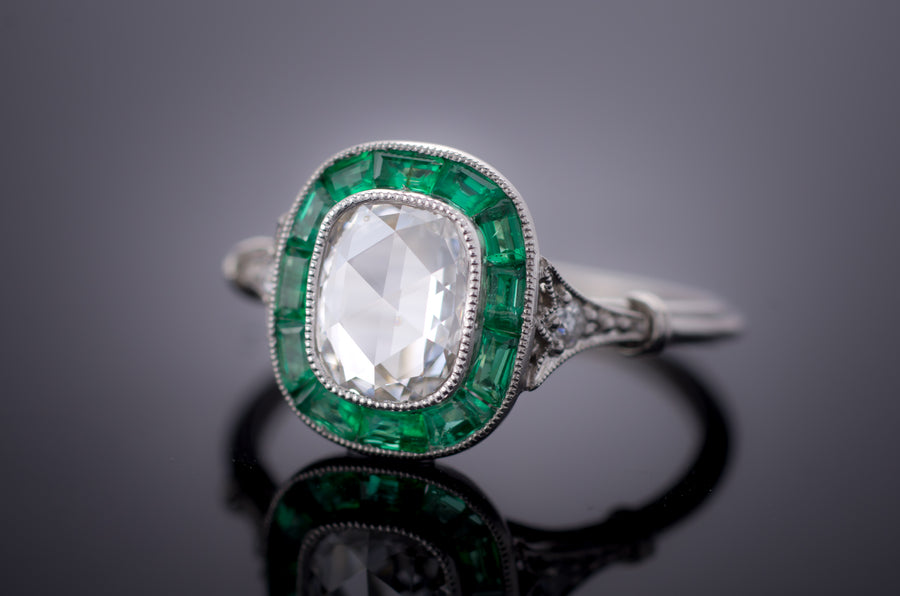 ROSE CUT AND EMERALD TARGET RING