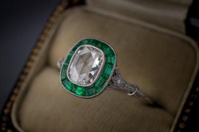 ROSE CUT AND EMERALD TARGET RING - SinCityFinds Jewelry