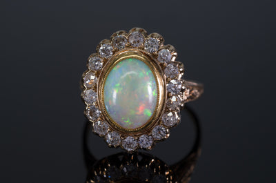 2.76CTW OPAL AND OLD MINE CUT DIAMOND COCKTAIL RING