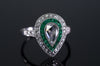 PEAR ROSE CUT DIAMOND AND FRENCH CUT EMERALD RING - SinCityFinds Jewelry