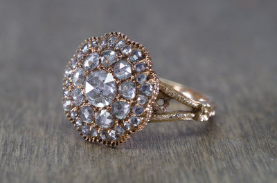 ROSE CUT DIAMOND CLUSTER RING - SinCityFinds Jewelry