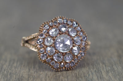 ROSE CUT DIAMOND CLUSTER RING
