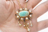 RETRO OPAL DIAMOND AND BLACK ENAMEL CONVERTIBLE BROOCH