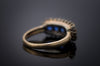 ANTIQUE SAPPHIRE AND OLD CUT DIAMOND FIVE STONE - SinCityFinds Jewelry
