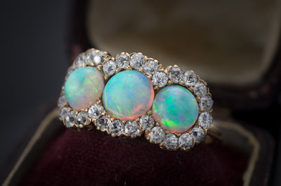 THREE STONE OPAL AND OLD MINE CUT HALO RING 3CTW - SinCityFinds Jewelry