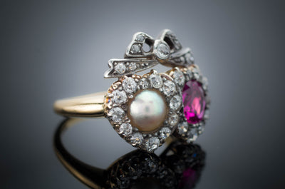 VICTORIAN TWIN HEARTS BURMA RUBY PEARL AND DIAMOND RING - SinCityFinds Jewelry