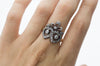 VICTORIAN ROSE AND MINE CUT DIAMOND TWIN HEARTS RING - SinCityFinds Jewelry