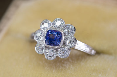 1.33CTW ANTIQUE NATURAL CEYLON SAPPHIRE AND OLD EUROPEAN CUT HALO RING - SinCityFinds Jewelry
