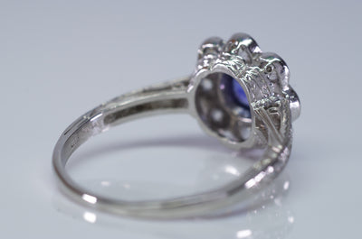 1.33CTW ANTIQUE NATURAL CEYLON SAPPHIRE AND OLD EUROPEAN CUT HALO RING