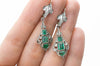 VINTAGE EMERALD AND DIAMOND LONG EARRINGS