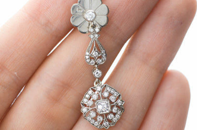 DECO INSPIRED ASSCHER AND ROUND CUT LONG DIAMOND EARRINGS - SinCityFinds Jewelry