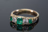 VICTORIAN EMERALD AND OLD MINE CUT DIAMOND BAND IN 18K GOLD