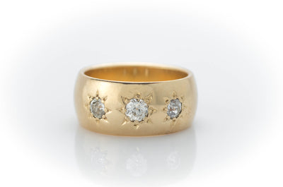 0.50CTW HEAVY GYPSY SET THREE STONE RING