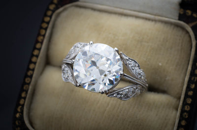 SOLITAIRE IN PLATINUM WITH DIAMOND ACCENTS - SinCityFinds Jewelry