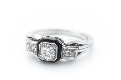 OLD EUROPEAN CUT DIAMOND RING WITH ONIX ACCENT