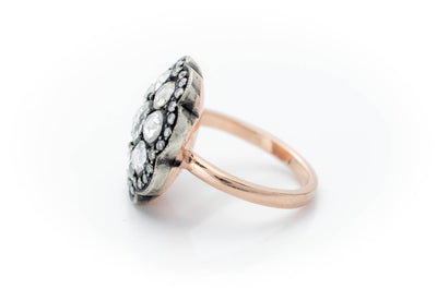 ROSE CUT DIAMOND RING IN ROSE GOLD AND SILVER - SinCityFinds Jewelry