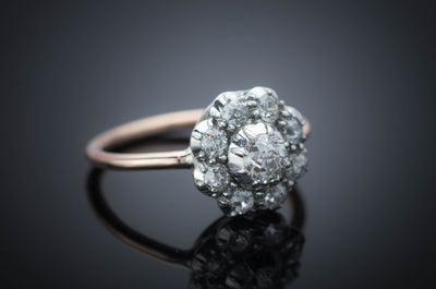 OLD EUROPEAN CUT DIAMOND CLUSTER HALO RING - SinCityFinds Jewelry