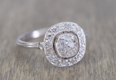 1.22CTW OLD MINE CUSHION DIAMOND HALO ENGAGEMENT RING - SinCityFinds Jewelry