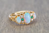 ANTIQUE THREE STONE OPAL, DIAMOND AND EMERALD RING IN YELLOW GOLD