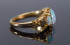 ANTIQUE THREE STONE OPAL, DIAMOND AND EMERALD RING IN YELLOW GOLD - SinCityFinds Jewelry