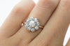 OLD EUROPEAN CUT DIAMOND CLUSTER HALO RING