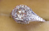 ART DECO SIGNED WHITE ROSE SOLITAIRE WITH ROSE CUT DIAMOND CENTER - SinCityFinds Jewelry