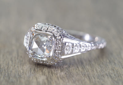 ART DECO SIGNED WHITE ROSE SOLITAIRE WITH ROSE CUT DIAMOND CENTER
