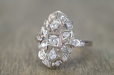0.40CTW ART DECO TRANSITIONAL CUT DIAMOND SHIELD STYLE RING - SinCityFinds Jewelry