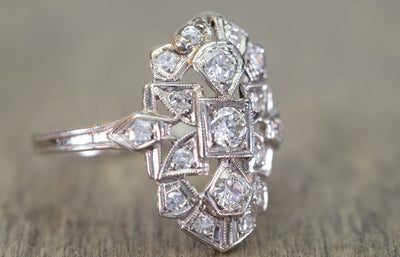 0.40CTW ART DECO TRANSITIONAL CUT DIAMOND SHIELD STYLE RING