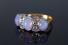 ANTIQUE OPAL AND OLD MINE CUT DIAMOND RING IN GOLD AND PLATINUM
