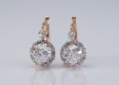2.31CTW OLD EUROPEAN CUT FRENCH DIAMOND EARRINGS - SinCityFinds Jewelry