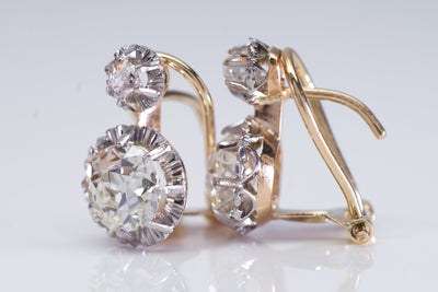 2.49CTW PLATINUM AND GOLD VINTAGE OLD CUT DIAMOND EARRINGS - SinCityFinds Jewelry