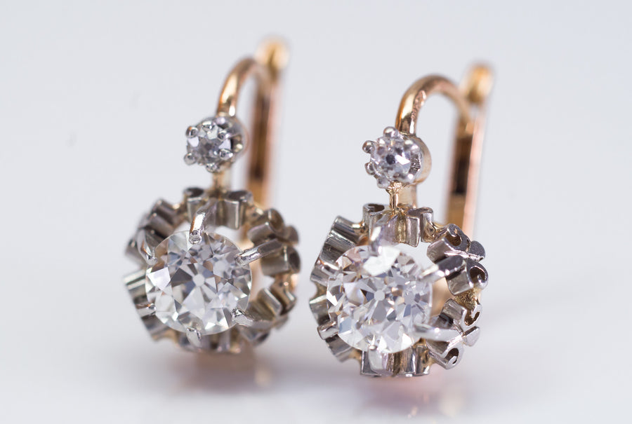 1.45CTW ANTIQUE OLD CUT DIAMOND MIXED METAL DORMEUSES FRENCH EARRINGS