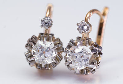 1.45CTW ANTIQUE OLD CUT DIAMOND MIXED METAL DORMEUSES FRENCH EARRINGS - SinCityFinds Jewelry