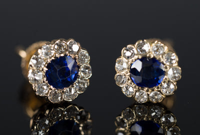 ANTIQUE NATURAL SAPPHIRE AND OLD CUT DIAMOND EARRINGS - SinCityFinds Jewelry