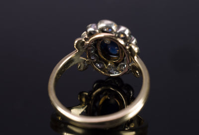 2.35CTW ANTIQUE SAPPHIRE AND OLD CUT DIAMOND HALO RING CONVERSION - SinCityFinds Jewelry