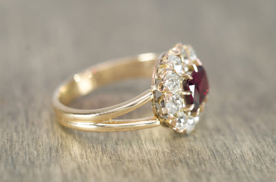 GARNET AND OLD CUT DIAMOND HALO CONVERSION RING