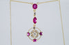 ANTIQUE RUBY AND DIAMOND NECKLACE IN YELLOW GOLD - SinCityFinds Jewelry