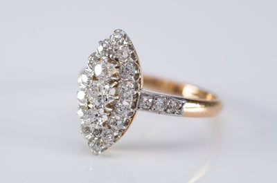 1CTW  ANTIQUE PLATINUM AND GOLD FRENCH NAVETTE DIAMOND RING - SinCityFinds Jewelry