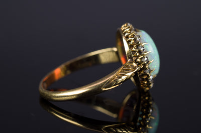 VICTORIAN OPAL AND OLD MINE CUT DIAMOND RING