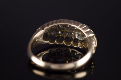 VICTORIAN OLD CUT DIAMOND  BOAT RING IN 15K GOLD