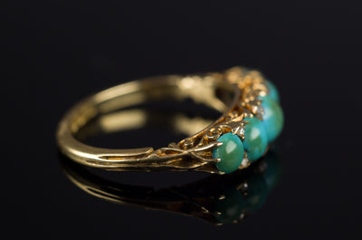 ANTIQUE HALF HOOP TURQUOISE AND DIAMOND  FIVE STONE BAND IN 18K - SinCityFinds Jewelry