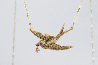 VINTAGE SWALLOW BIRD NECKLACE WITH DIAMOND AND RUBY ACCENTS - SinCityFinds Jewelry