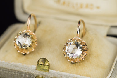 ANTIQUE ROSE CUT DIAMOND EARRINGS - SinCityFinds Jewelry