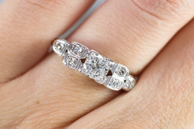 0.57CTW ART DECO TRANSITIONAL CUT DIAMOND RING IN 18K WHITE GOLD